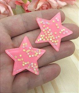 Aplique de Estrela - Rosa Coral - 2 unidades