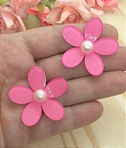 Aplique de Acrílico - Florzinha 3D com Pérola - Rosa Pink - 2 unidades
