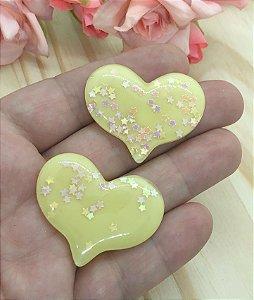 Aplique de Coração com Estrelinhas - Amarelo - 2 unidades