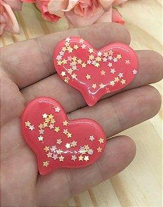 Aplique de Coração com Estrelinhas - Vermelho - 2 unidades