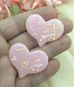 Aplique de Coração com Estrelinhas - Rosa Claro - 2 unidades
