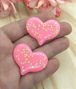 Aplique de Coração com Estrelinhas - Rosa Coral - 2 unidades