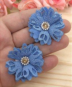 Aplique de Flor de Tecido com Strass - Azul - 2 unidades