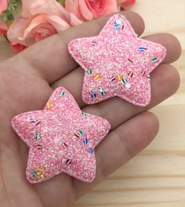 Aplique de Estrela  Glitter Grosso - Rosa - 2 Unidades