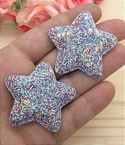 Aplique de Estrela  Glitter Grosso - Lilás - 2 Unidades