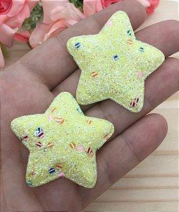 Aplique de Estrela  Glitter Grosso - Amarela - 2 Unidades