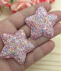 Aplique de Estrela  Glitter Grosso - Vermelha - 2 Unidades