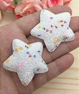 Aplique de Estrela  Glitter Grosso - Branca - 2 Unidades