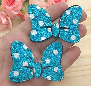 Laço Glitter Lonita Minie - Azul - 2 unidades