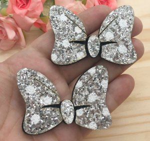 Laço Glitter Lonita Minie - Prata - 2 unidades