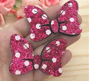 Laço Glitter Lonita Minie - Rosa Pink - 2 unidades
