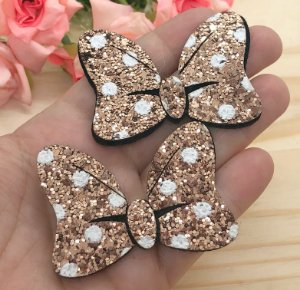 Laço Glitter Lonita Minie - Dourado - 2 unidades