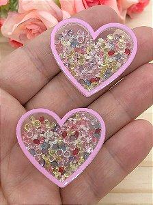 Aplique de Coração com Pedrinhas - Brilha no Escuro - Borda Rosa Claro - 2 Unidades