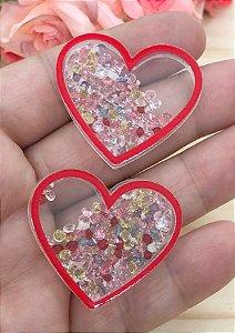 Aplique de Coração com Pedrinhas - Brilha no Escuro - Borda Vermelha - 2 Unidades