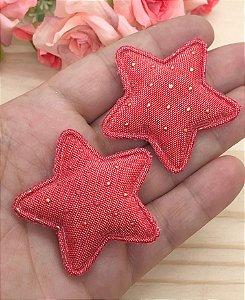 Aplique de Estrela Tecido com Pontinhos Dourados - Vermelha - 2 unidades