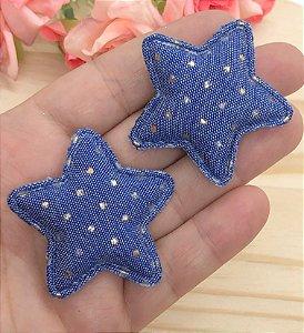 Aplique de Estrela Tecido com Pontinhos Dourados - Azul Jeans - 2 unidades