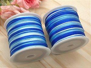 Fio de Seda Mesclado - Tons de Azul - 1mm - 5 metros