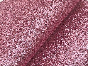 Lonita de Glitter Grosso Flocada - Rosa Claro - Folha - 24x35cm