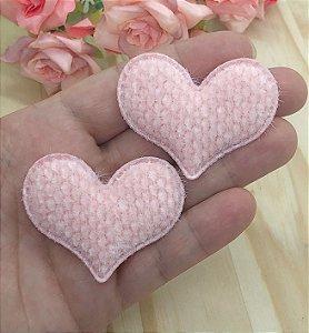 Aplique de Coração com Textura - Rosa Claro - 2 unidades