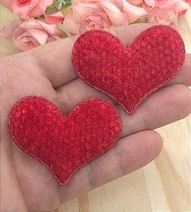 Aplique de Coração com Textura - Vermelho - 2 unidades