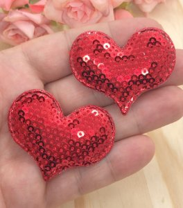 Aplique de Coração Paetês - Vermelho - 2 unidades