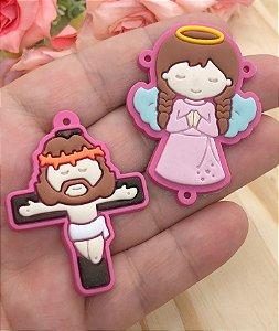 Emborrachados - Anjinha e Crucifixo - Pink (par)