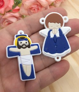 Emborrachados - Anjinho e Crucifixo - Azul Escuro (par)