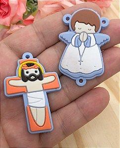 Emborrachados - Anjinho e Crucifixo - Azul Claro (par)