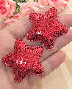 Aplique de Estrela Paetês - Vermelha - 2 unidades