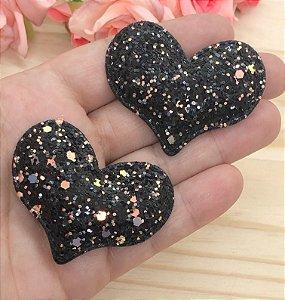 Aplique de Coração Glitter Flocado - Preto - 2 unidades