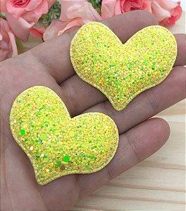 Aplique de Coração Glitter Flocado - Amarelo - 2 unidades