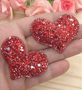 Aplique de Coração Glitter Flocado - Vermelho - 2 unidades
