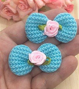 Aplique de Tricô com Florzinha - Azul - 2 unidades