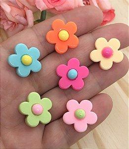 Aplique de Acrílico - Florzinhas Coloridas - 6 unidades Sortidas