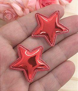Aplique Metalizado Estrela - Vermelha - 2 unidades