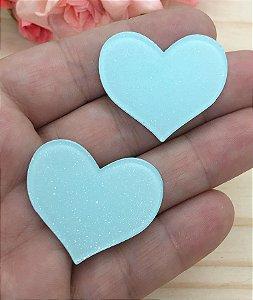 Aplique Acrílico com Brilho - Coração Azul Claro - 2 unidades
