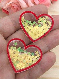 Aplique de Coração - Borda Vemelha e Estrelinhas Amarelas - Brilha no Escuro - 2 unidades