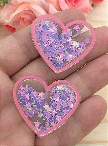 Aplique de Coração - Borda Pêssego e Estrelinhas Lilás - Brilha no Escuro - 2 unidades