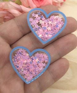 Aplique de Coração - Borda Azul e Estrelinhas Rosa - Brilha no Escuro - 2 unidades