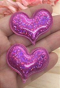 Aplique de Coração - Efeito Laser - Pink - 2 unidades