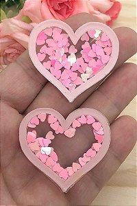 Aplique de Acrílico - Coração Rosa Claro com Coraçõezinhos Rosa -