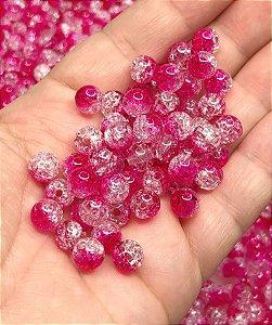 Bolinha Craquelada Mesclada - Rosa Pink - 8mm - 30 gramas