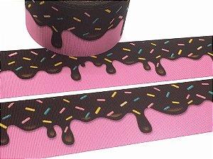 Fita de Gorgurão Estampada - Cobertura de Chocolate - Progresso - 38mm