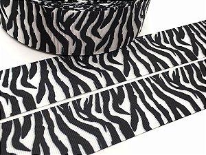 Fita de Gorgurão Estampada - Animal Print - Zebra - Sakura - 38mm