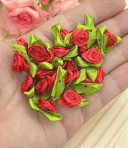 Florzinha Rococó com Folhas -Vermelha - Pacote 20 unidades