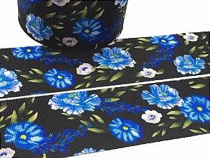 Fita de Gorgurão Floral - Flores Azuis Fundo Preto - 38mm - Progresso