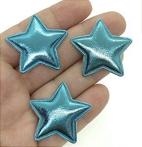 Aplique Acolchoado de Estrela - Metálica Azul - 2 Unidades - 3,5x3,5cm