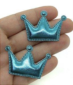 Aplique Acolchoado de Coroa - Metálica Azul Claro - 2 Unidades - 3,5x3,5cm