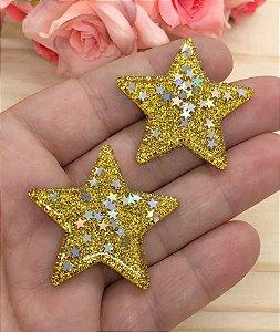 Aplique de Estrela - Amarela - Glitter - 4x4cm - 2 Unidades
