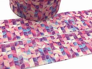 Fita de Gorgurão Estampada - Mosaico Rosa - Artfitas - 38mm